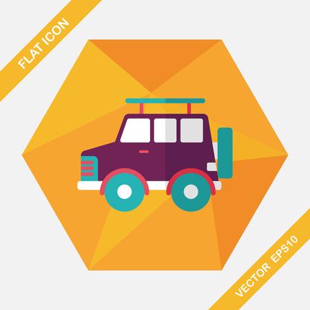 sport utility vehicle: Transportation Sports Utility Vehicle flat icon with long shadow,eps10 Illustration