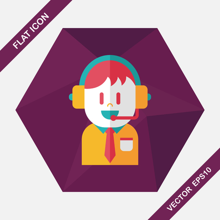 face with headset: Customer service icon with long shadow,eps10 Illustration