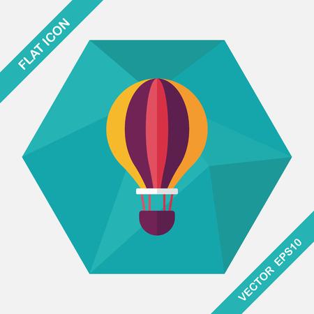 ballooning: Transportation hot air ballon flat icon with long shadow,eps10