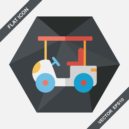 golf cart: Transportation Golf Cart flat icon with long shadow,eps10