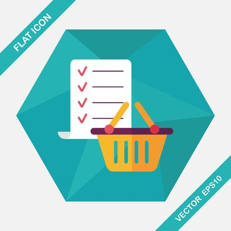 checklist: shopping list flat icon with long shadow,eps10
