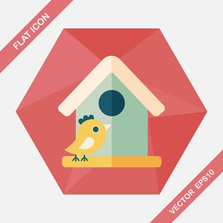 bird shadow: Pet bird house flat icon with long shadow,eps10 Illustration