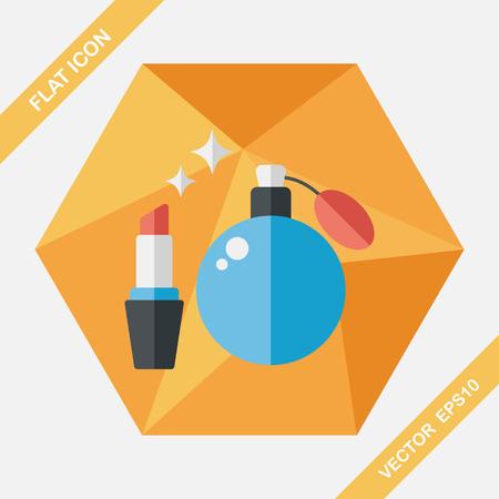 perfume bottle: shopping perfume and lipsticks flat icon with long shadow,eps10 Illustration