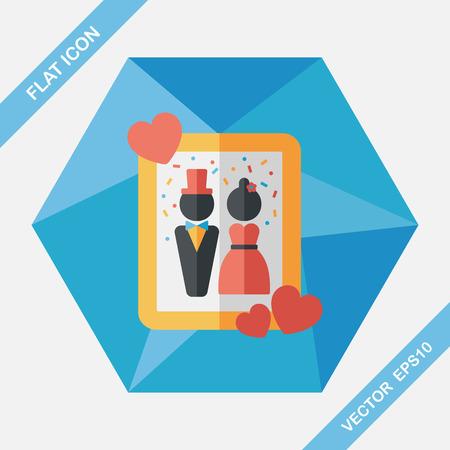 photoalbum: wedding photo flat icon with long shadow,eps10 Illustration