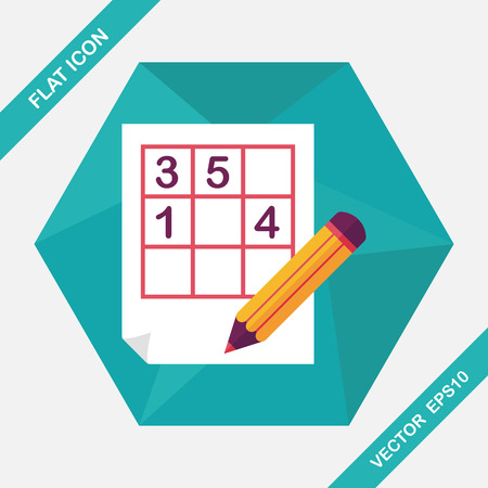 difficulties: Sudoku flat icon with long shadow,eps10