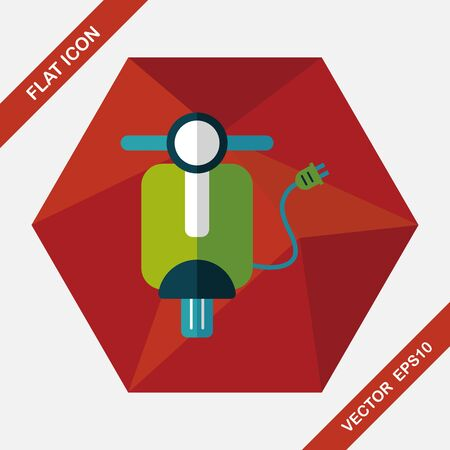 reduce: Environmental protection concept flat icon with long shadow,eps10; Reduce riding a motorcycle, reduce air pollution; Electric Motorcycles