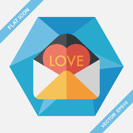 handwrite: Valentines day love letter flat icon with long shadow,eps10