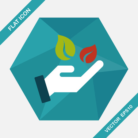 sincerely: Environmental protection concept flat icon with long shadow,eps10; Sincerely protect our environment; saving energy to protect our home