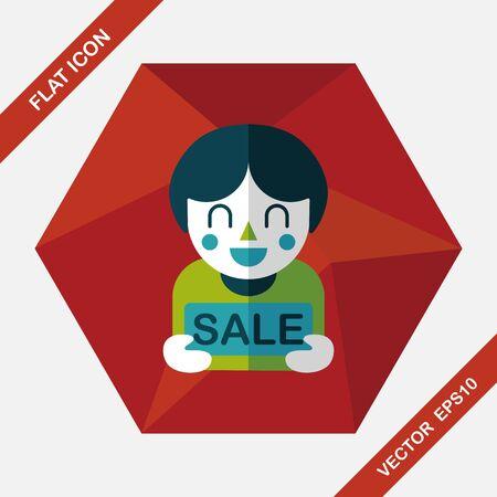shopaholic: SALE Shopaholic flat icon with long shadow,eps10 Illustration