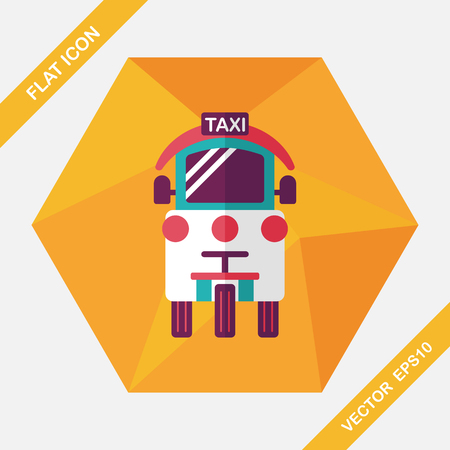 private service: Transportation taxi flat icon with long shadow,eps10