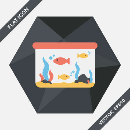 Pet fish flat icon with long shadow,eps10 Illustration