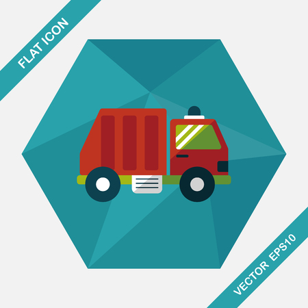 garbage truck: Transportation Garbage truck flat icon with long shadow,eps10