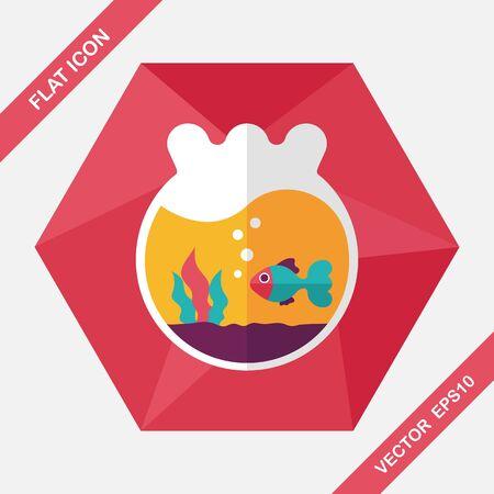 gold fish bowl: Pet goldfish bowl flat icon with long shadow,eps10