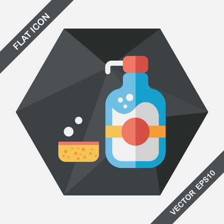 disinfectant: kitchenware dish soap flat icon with long shadow,eps10 Illustration