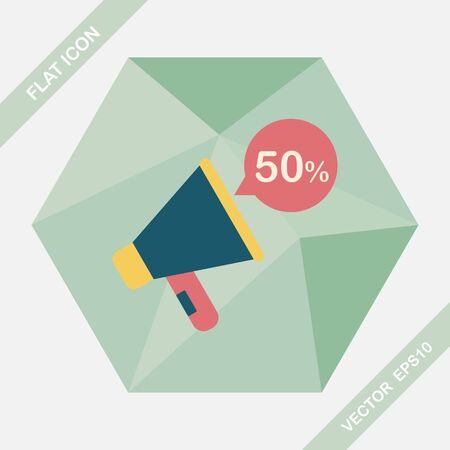 using voice: shopping sale announcement flat icon with long shadow,eps10