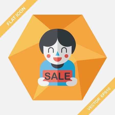 handsome boys: SALE Shopaholic flat icon with long shadow,eps10 Illustration