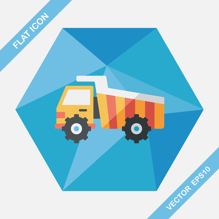 excavating machine: Transportation excavator flat icon with long shadow,eps10