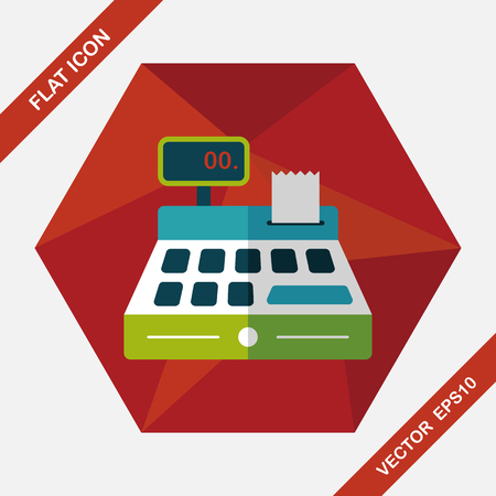 calculator money: shopping cash register flat icon with long shadow,eps10