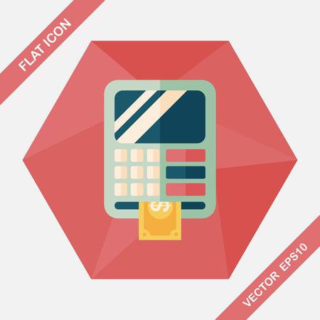 automatic transaction machine: Icono plana ATM con una larga sombra, eps10