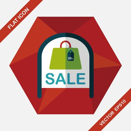 shopping store sale sign flat icon with long shadow,eps10