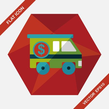armored: Armored car flat icon with long shadow,eps10