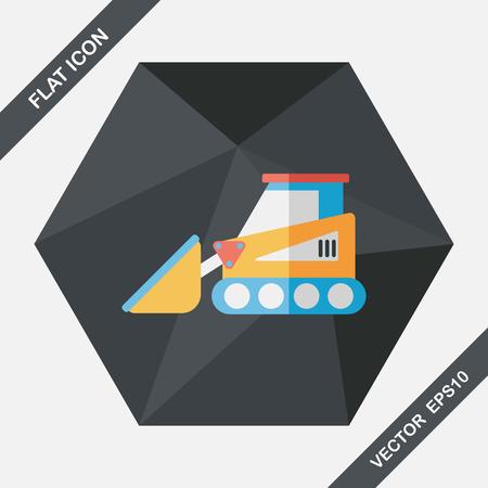 power shovel: Transportation bulldozer flat icon with long shadow,eps10