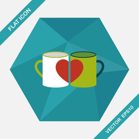 valentine day cup of coffee: Valentines day cup flat icon with long shadow,eps10
