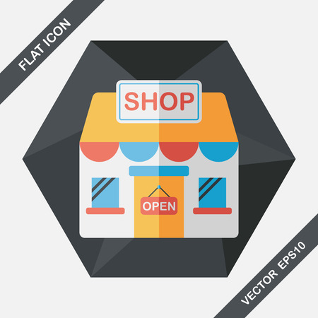 shopping centre: shopping store flat icon with long shadow,eps10