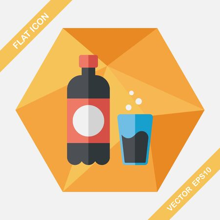 liter: soda drink flat icon with long shadow,
