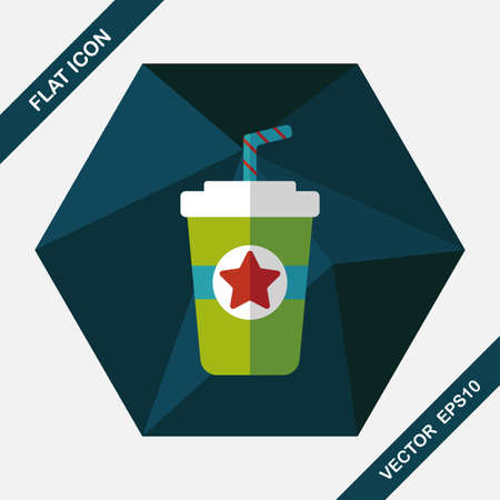long drink: soda drink flat icon with long shadow,