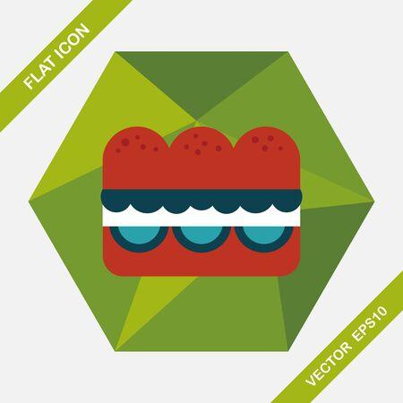 sub menu: sandwich flat icon with long shadow,