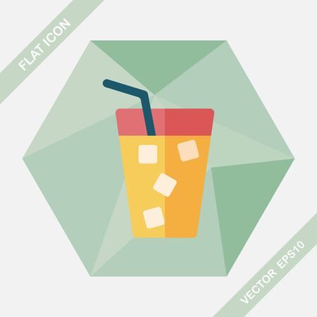 long drink: soda drink flat icon with long shadow