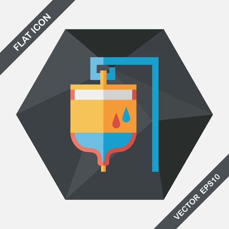 iv: IV bag flat icon with long shadow Illustration