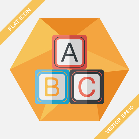 children education: ABC blocks flat icon with long shadow,EPS 10