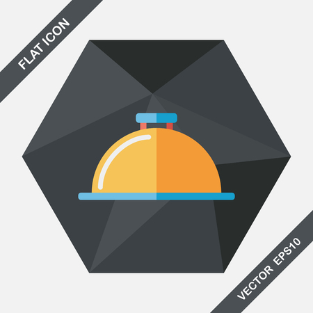 silver service: Restaurant cloche flat icon with long shadow,eps10