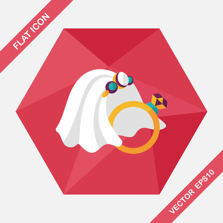wedding rings: bride veil and diamond ring flat icon with long shadow,eps10