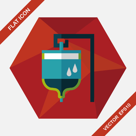 saline: IV bag flat icon with long shadow Illustration