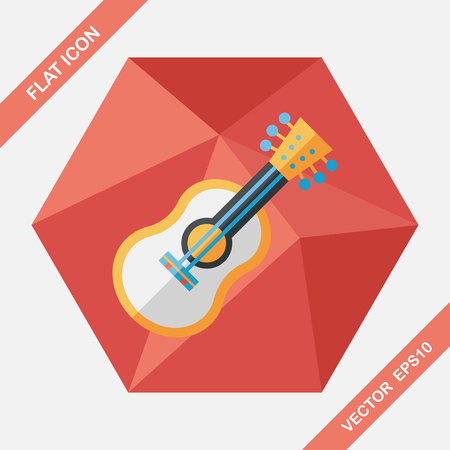 children education: guitar flat icon with long shadow Illustration