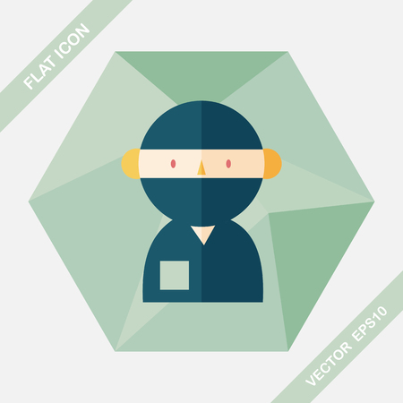 surgical mask: medical people with stethoscopes flat icon with long shadow Illustration