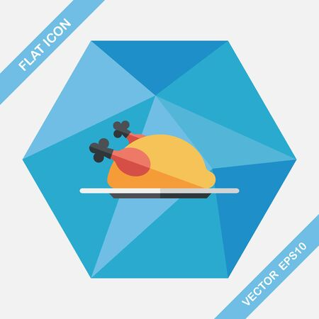 grilled: chicken food flat icon with long shadow,eps10 Illustration