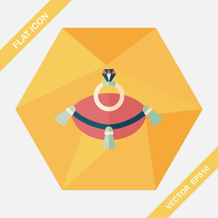 diamond rings: Propose diamond ring flat icon with long shadow,eps10