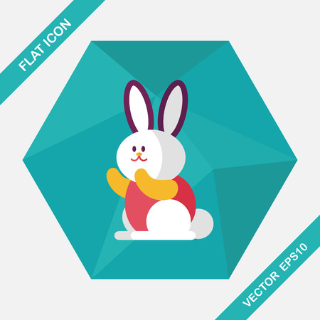 cony: Rabbit flat icon with long shadow,eps 10