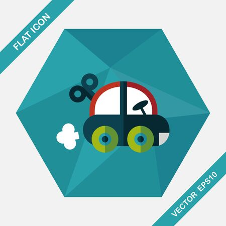 happy kids: toy car flat icon with long shadow,eps10 Illustration