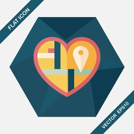 destination wedding: heart shaped wedding invitation flat icon with long shadow,eps10, wedding ceremony destination on invitation