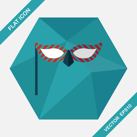 decoration decorative disguise: party mask flat icon with long shadow,eps10 Illustration
