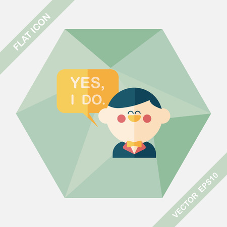 vow: wedding yes i do words from groom flat icon with long shadow,eps10
