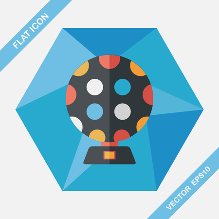 disco lights: disco lights flat icon with long shadow,eps10 Illustration