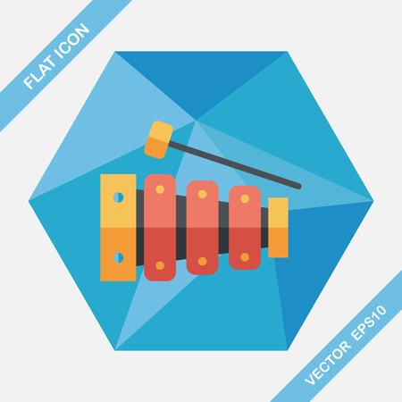 xilofono: Xilófono icono plana con larga sombra Vectores