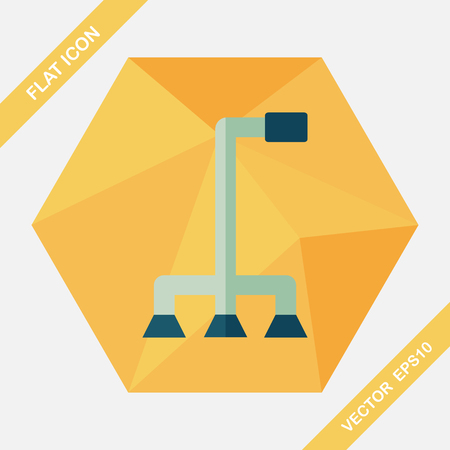 crook: walking stick flat icon with long shadow Illustration
