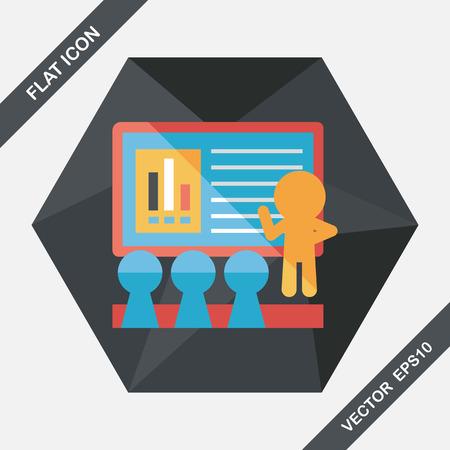 Referent auf Business-Workshop Flach Symbol mit langen Schatten, eps10